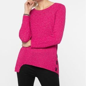 NIC + ZOE Fuchsia Pink Sweater with Side Ribbons